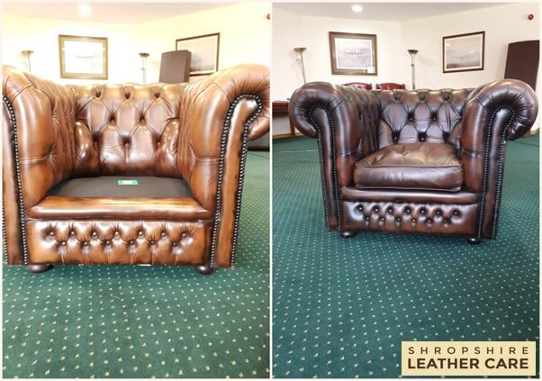 Chesterfield restoration of antique finish